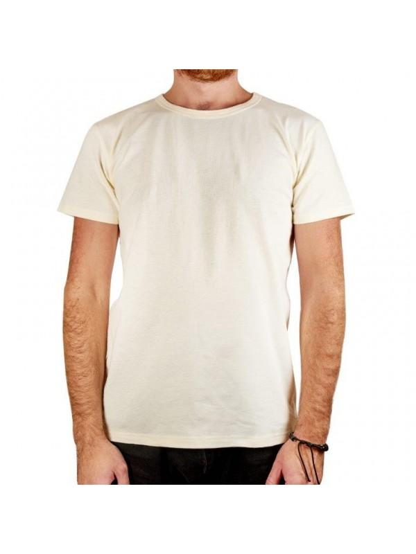 Бяла мъжка тениска от коноп
